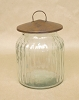 Round Glass Canister with Rusty Tin Lid-6