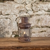 RUSTED MOVING FLAME CANYON LANTERN WITH TIMER