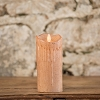 MOVING FLAME 3 IN X 5 IN SEPIA WAXED PILLAR CANDLE WITH TIMER
