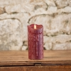 MOVING FLAME 3 IN X 5 IN CRANBERRY WAXED PILLAR CANDLE WITH TIMER