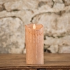 MOVING FLAME 3 IN X 7 IN SEPIA WAXED PILLAR CANDLE WITH TIMER