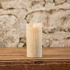 MOVING FLAME 3 IN X 7 IN LINEN WAXED PILLAR CANDLE WITH TIMER