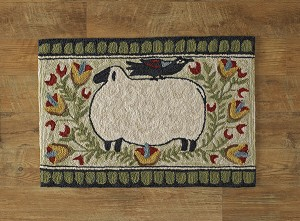Sheep with Bird Hooked Rug