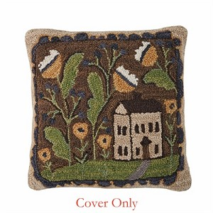 "Whimsey Cottage Hooked 18"" Pillow Cover"