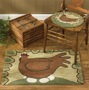 Hen And Eggs Hooked Rug