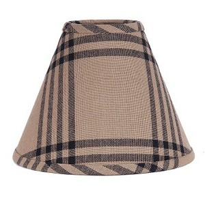 "Chesterfield Check Lampshade Oat-Black 10"" Regular Clip"