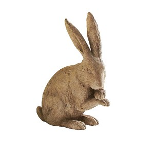 12 Inch Light Brown Resin Rabbit Sitting w/ Crossed Paws
