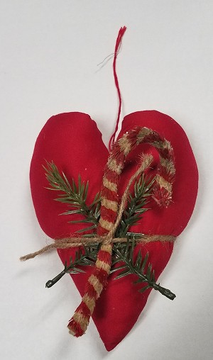 Fabric Heart with Candy Cane