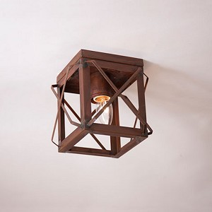 Single Ceiling Light with Folded Bars in Rustic Tin - No Glass