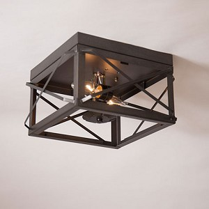 Double Ceiling Lights with Folded Bars Kettle Black - No Glass