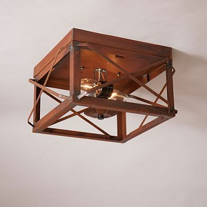 Double Ceiling Lights with Folded Bars Rustic Tin - No Glass