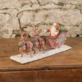 COTTON BATTING SANTA AND SLEIGH WITH DEER