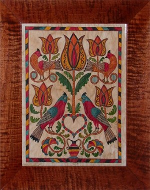 TURQUOISE BIRDS AND TULIPS FRAKTUR
