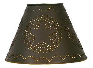"4"" x 9"" x 6"" Star Punched Tin Shade - Rustic Brown"