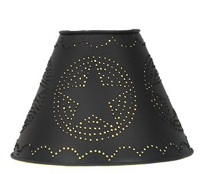 "Size D 4""X9""X6"" Star Punched Tin Shade -Black"