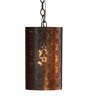 Punched Tin Cylinder Pendant Light