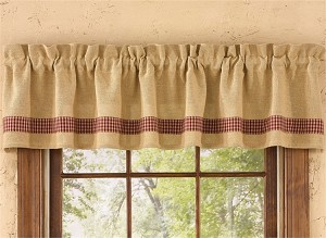 Burlap & Check Valance - Wine