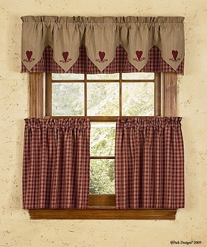 Sturbridge Heart Embroidered Point Valance - Wine