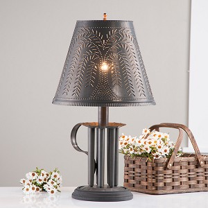 Round Candle Mold Lamp with Chisel Shade in Blackened Tin