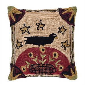 Folk Crow Hooked Pillow Cover