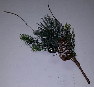 "Flocked Silver Ball and Pinecone 9"" Pick"