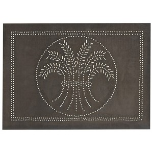 "Horizontal Wheat Design Cabinet Panel 10""x14"" Blackened Tin"