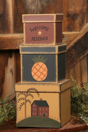 Nesting Boxes - Welcome Friends