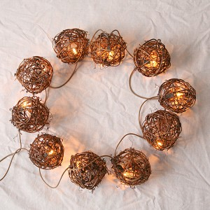 Twig Ball Garland W/Lights