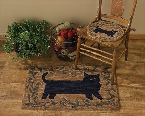Cat Hooked Rug