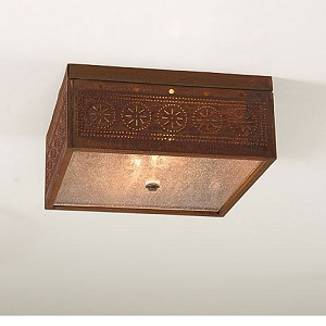 Square Ceiling Light Rustic Tin