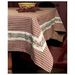 "60x90"" Burgundy Berry Vine Tablecloth"