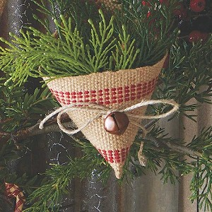 Burlap Cone Ornament with Rustic Bell