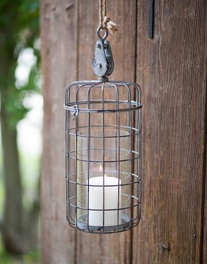 Large Hanging Farmhouse Candle Cage with Pulley