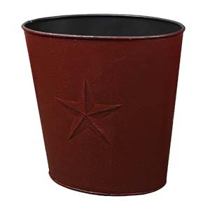 "Small Burgundy Barn Star Waste Basket (10x10.5"")"