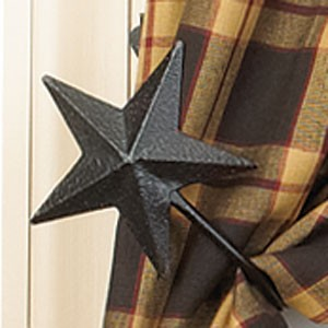 "Black Barn Star Curtain Tiebacks Set/2 (4"")"