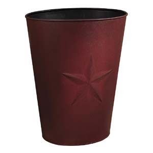 "Large Burgundy Barn Star Waste Basket (12.5x16"")"