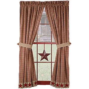 "Burgundy Homespun Star 84"" Panels (72x84"")"