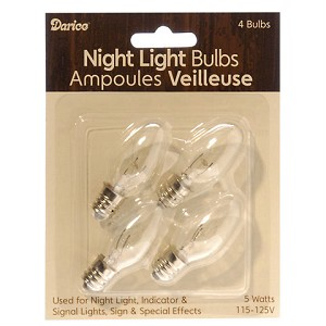 Night Light Bulbs - 5 watts - 4 pieces per card
