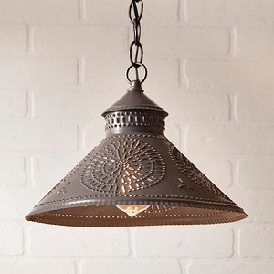 Stockbridge Shade Pendant Light in Blackened Tin