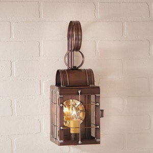 Single Wall Lantern with Bars Antique Copper