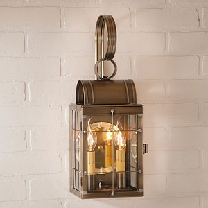 Double Wall Lantern Weathered Brass