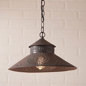 Shopkeeper Shade Pendant Light in Blackened Tin
