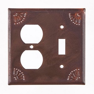 Outlet & Switch Cover with Chisel in Rustic Tin