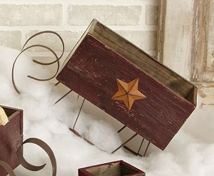 Sleigh - Distressed Burgundy Rusty Star