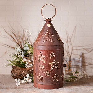 "27"" Blacksmith's Lantern with Star in Rustic Tin"
