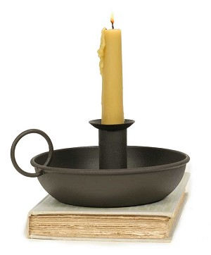 Flat Dish Candle Holder - Rustic Brown
