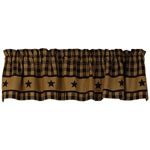 "Black Country Star Lined Valance (72x14"")"