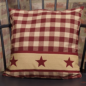 "16"" Cranberry Country Star Pillow"