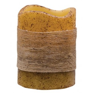 "3"" X 4"" Jute Wrapped Pillar - Burnt Ivory"