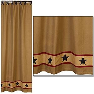Home Homespun Country Curtains Khaki Barn Star Shower Curtain 72x72